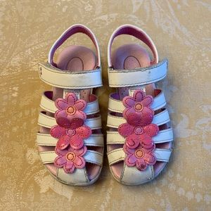 Stride Rite White Sandal Pink Flowers Toddler 9